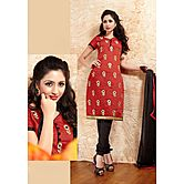 Style By India Red & Black Chanderi Dress Material