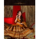 Designer Yellow And Brown Lehenga Choli