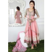 Styles Closet Designer Pink Embroidery Work Floor Length Anarkali Suit.