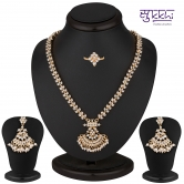 Craftsvilla Alluring Gold Plated Ad Necklace-earring-ring Set