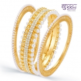 Sukkhi Wavy Gold Plated Ad Moti Set Of Three Kada For Women(12041kadi1900)
