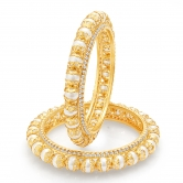 Sukkhi Shimmering Gold Plated Pearl Bangle For Women