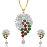 Sukkhi Etherealgold And Rhodium Plated Ruby Cz Pendant Set For Women