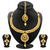 Sukkhi Royal Gold Plated Ad Necklace Set For Women
