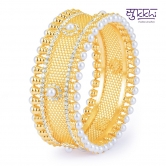 Sukkhi Sparkling Gold Plated Ad Moti Kada For Women(12039kadi1300)