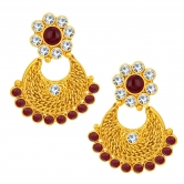 Sukkhi Intricately Chandbali Gold Plated Ad Earring For Women