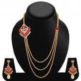 Sukkhi Enchanting Three Strings Gold Plated Ad Necklace Set For Women