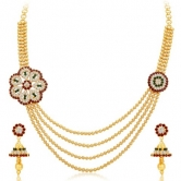 Craftsvilla Glimmery Four Strings Gold Plated Necklace Set