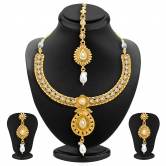 Sukkhi Marquise Gold Plated Ad Necklace Set For Women
