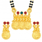 Sukkhi Traditionally Laxmi Temple Coin Gold Plated Mangalsutra Set For Women
