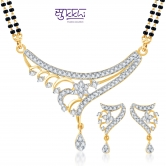 Sukkhi Ritzzy Cz Gold And Rhodium Plated Mangalsutra Set (free Mala (18
