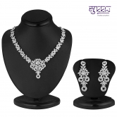 Craftsvilla Rhodium Necklace Set With American Diamonds