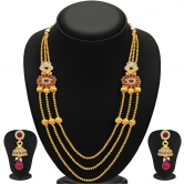 Sukkhi Exquisite Three Strings Gold Plated Ad Necklace Set For Women