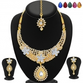 Sukkhi Stunning Gold And Rhodium Plated Ad Necklace Set With Set Of 5 Changeable Stone For Women