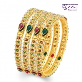Sukkhi Sublime Gold Plated Traditional Set Of 4 Bangles For Women(32018bgldpv1800)