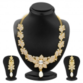 Craftsvilla Intricately Gold Plated Ad Necklace Set For Women