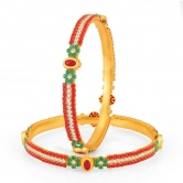 Sukkhi Pleasing Gold Plated Set Of 2 Coral Bangle (32013badv950)