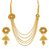 Craftsvilla Excellent Five String Jalebi Gold Plated Kundan Necklace Set For Women