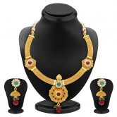 Craftsvilla Bewitching Jalebi Design Gold Plated Necklace Set For Women