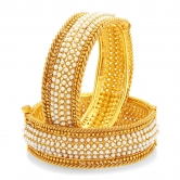Craftsvilla Marvellous Gold Plated Pearl Bangle For Women