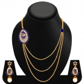 Sukkhi Cluster Three Strings Gold Plated Ad Necklace Set For Women