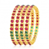 Sukkhi Glittery Kempu Stone Gold Plated Bangle For Women