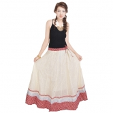 Rajasthani Ethnic White Cotton Long Skirt