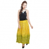 Rajasthani Light Green Bandhej Design Cotton Skirt