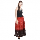 Rajasthani Red-black Bandhej Design Cotton Skirt