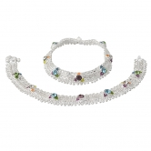 Taj Pearl Designer Traditional Silver Plated Anklets