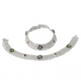 Taj Pearl Crystal Ethnic Silver Plated Anklets