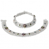 Taj Pearl Gorgeous Traditional Indian Silver Plated Anklets