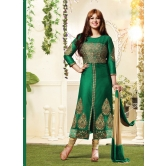 Green Embroidered Cotton Dress Material