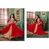Red And Beige Embroidered Georgette Dress Material