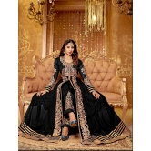 Thankar Black & Beige Embroidered Net Semi-stitched Anarkali Suit