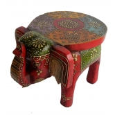Indian Hand Made Hand Painted Wooden Elephant Stool