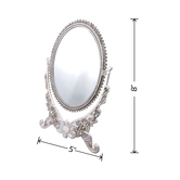The Divine Luxury – Antique Oval Mirror On Stand   8 X 5 Inch   Small Oval Mirror On Stand   Floral Design On Border With 360 Degree Reversible   Shiny Silver Finish   Perfect Diwali Home Décor