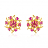 Mahi Gold Plated Celestial Floret Earrings With Ruby Stones For Women Er1109355g