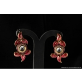 Vardhaman Goodwill Antic Maroon Colour Gold Plated Pair Of Earring