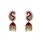 Indian Bollywood Fashion Gold Filled Pearl Crystal Women Jhumka Earrings Set