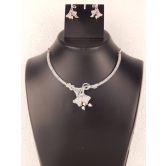 American Diamond Sterling Studded Jewelry Necklace Set With Earring
