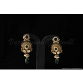 Vardhaman Goodwill Antic Green Colour Gold Plated Pair Of Earring