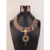 Indian Bollywood Handcrafted Polka Fashion Beautiful Necklace Set With Earring