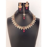 Indian Bridal Necklace Set With Wedding Crystal Earring With Maang Tikka