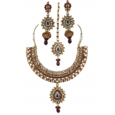Indian Traditional Designer Polki Jewelry Beautiful Necklace Set With Maang Tikka And Earrings