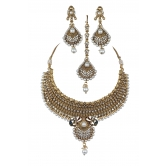 Indian Bollywood Fashion Traditional Polki Pearl Jewelry Necklace Set With Maang Tikka And Earring