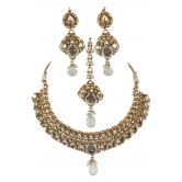 Indian Bollywood Designer Traditional Polki Jewelry Necklace Set With Maang Tikka And Earrings