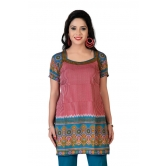 Stylish Printed Short Sleeves Party Wear Kurti By Variation (size-s)