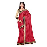 Viva N Diva Red Colored Lycra With Glitter Saree