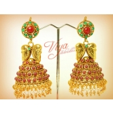 Red And Green Kemp Stones Jhumka